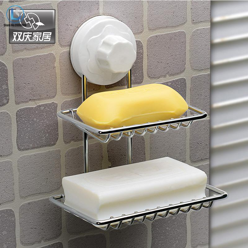 <font><b>Double</b></font> Layer Soap Box Soap Dishes Fashion Strong <font><b>Suction</b></font> <font><b>Cup</b></font> Water Bunk Soap Holder <font><b>Stainless</b></font> <font><b>Steel</b></font> Bath <font><b>Basket</b></font> A388