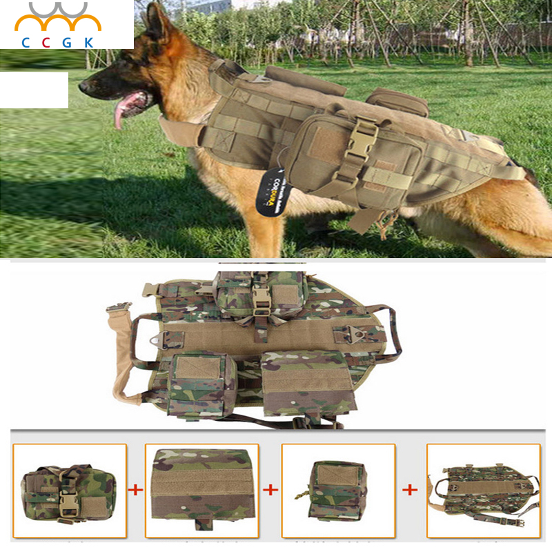 2017 Outdoor Protection Army Tactical Dog Vests Military Dog Clothes Load Bearing font b Harness b