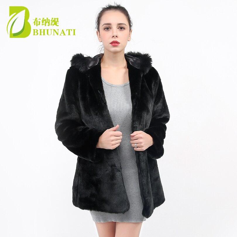 Bhunati 2018 Mode À En Manteau La Manches Taille Femmes Noir Veste D'hiver Capuche Fausse Manteaux Bnt108 Fourrure Lâche Femelle Longues Plus De Chaud IYvm6g7ybf
