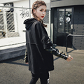 [XITAO] 2017 Europa moda mulheres carta de impressão costura falso duas peças pullover camuflagem manga longa camisolas MMJ007