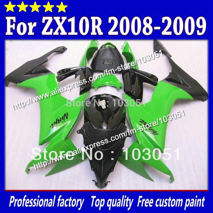 High grade for Kawasaki ZX10R fairings 2008 ninja ZX 10R fairing 2009 ZX-10R 08 09 green in glossy black SM38