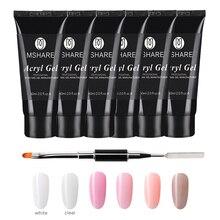 MSHARE 60ml UV LED Builder Gel Polygel Set Quick Building Finger Extension Camouflage Nail Art Poly Tips Brush Tools Kits
