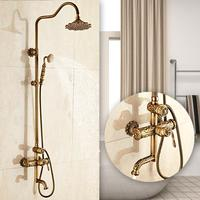 New Arrival luxury Retro Carved Bathroom Faucet Wall Mounted Carving Hand Held Antique Brass Shower Head Kit Shower Faucet Set