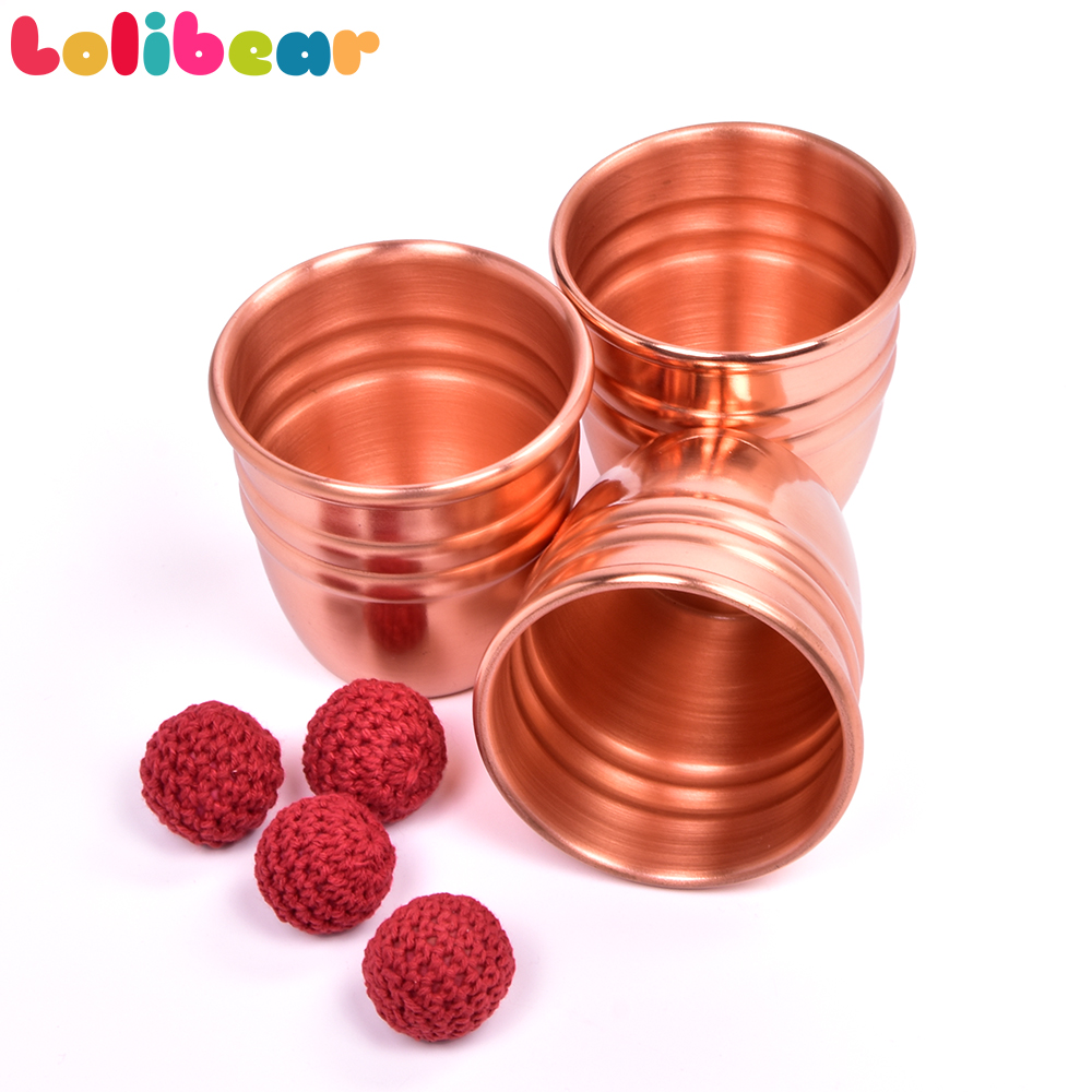 Super Professional Brass Three Cups And Balls With Chop Cup (Large) Magic Tricks Close Up Magia Illusion Gimmick Props Magicain