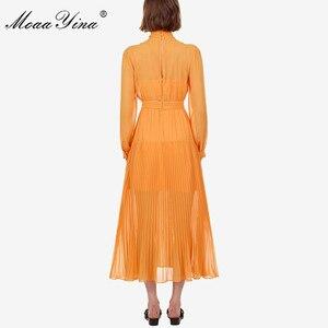 Image 3 - MoaaYina mode Designer robe de piste printemps automne jaune femmes robe à manches longues dentelle mince robes élégantes