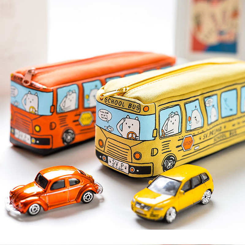 Creative Cartoon School Bus Pencil Case Large Capacity Cute Pen Bag Box Stationery Pouch Kids Gift Office School Supplies 04972