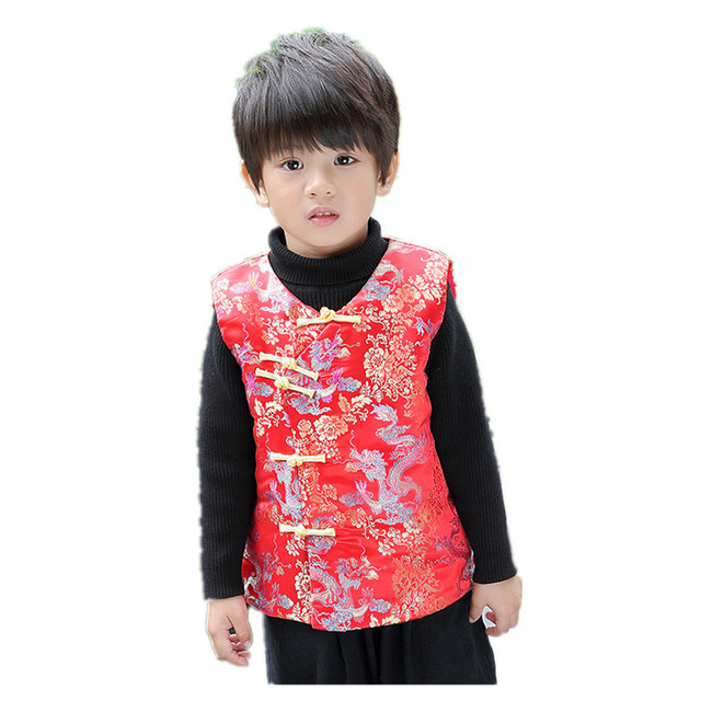 4543617ee Winter Children Waistcoat 2019 Chinese New Year Baby Boy Vest Jacket Kids  Tang Clothes Boys Coat Cheongsam Outfit Sleeveless Top