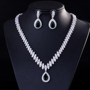 Image 2 - Высокое качество кубического циркония свадебное ожерелье и серьги Роскошный Кристалл Свадебные Ювелирные наборы для подружек невесты