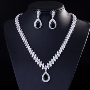Image 2 - Collar y pendientes de boda de Zirconia cúbica de alta calidad, conjuntos de joyería de cristal de lujo para damas de honor