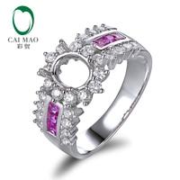 Caimao 5x7mm Oval Cut 14ct White Gold Natural Full Cut Diamond and Princess Cut Pink Sapphire Ring Semi Mount Settings