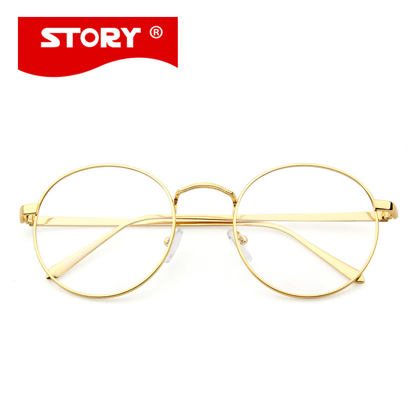 STORY Korean Glasses Frame Retro Full Rim Gold Eyeglass Frame Vintage Spectacles Round Computer Glasses Unisex NO Degrees 002