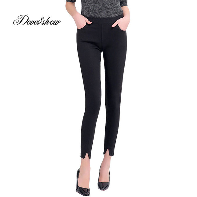06686b9e04618 High Stretch Slim Casual Elastic Pencil Pants Leggings Female Spring Split  Ankle Length Magic Pants Jeans Plus Size Trousers 5XL