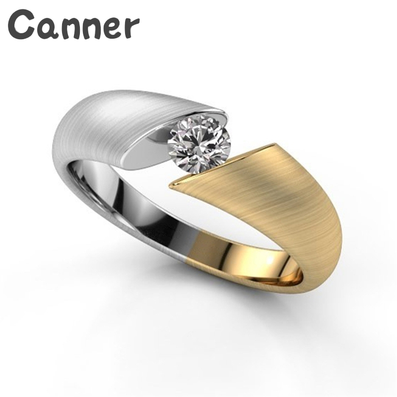 Canner Stainless Steel Wedding Ring Luxury Rhinestone Women Finger Ring Color Mixing Zircon Crystal Charm Rings A35
