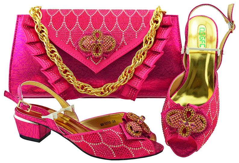 Latest Fuchsia Italian Ladies Shoes and Bags To Match Set Nigerian Shoes and Matching Bag African Wedding Shoes MM1070 italian gold color italian ladies shoes and bags to match set nigerian shoes and matching bag african wedding shoes and bag set