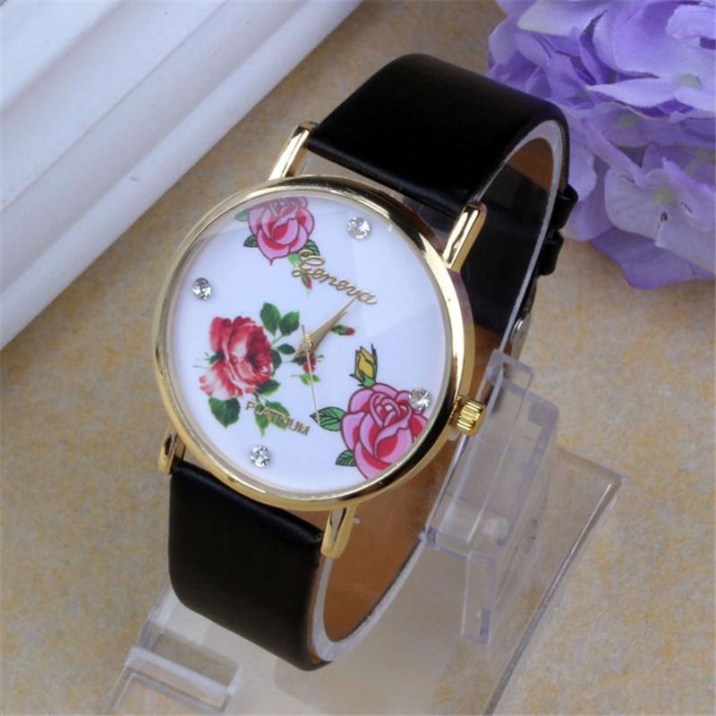 bf65f296643 Casual Pulseira de Couro Relógios Das Mulheres De Luxo Strass Grande Flores  Padrão de relógio de Pulso Relógio de Quartzo Relogio feminino