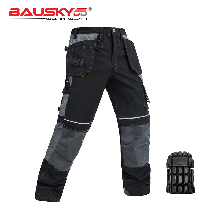 Work-Pants Trousers Knee-Pads Craftsman Multi-Pockets Men's High-Quality New with EVA