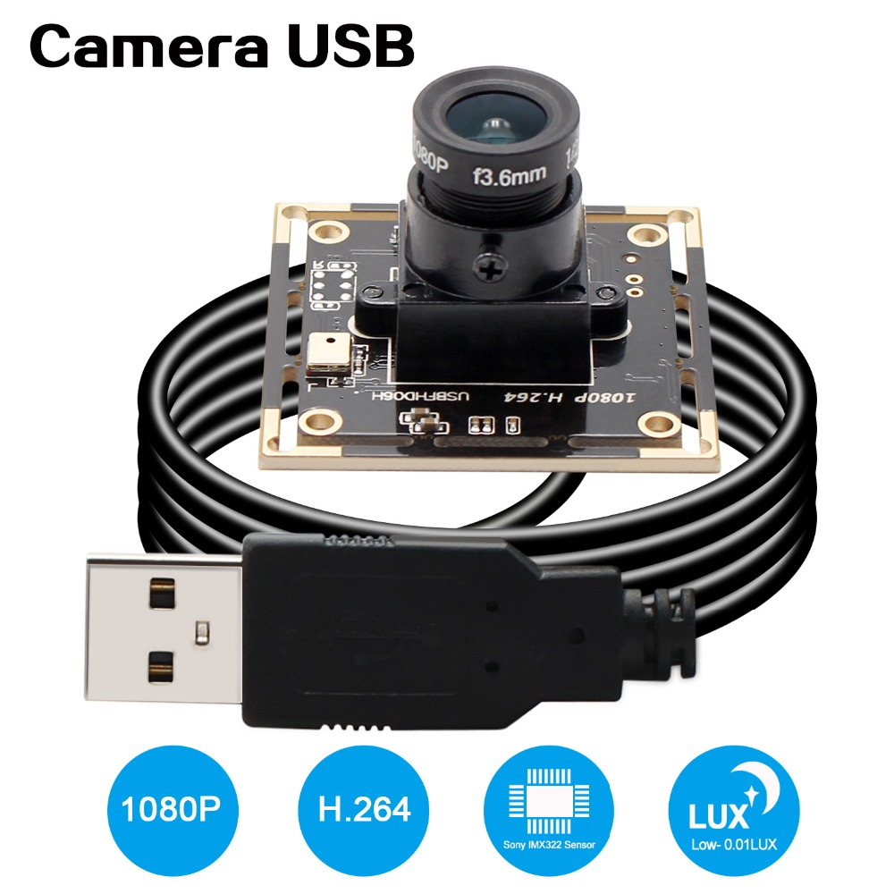 1080P Full HD SONY IMX322 Low Illumination 0.01Lux CMOS H.264 AEC AEB AGC Support USB Camera Module CCTV PCB Board With Audio