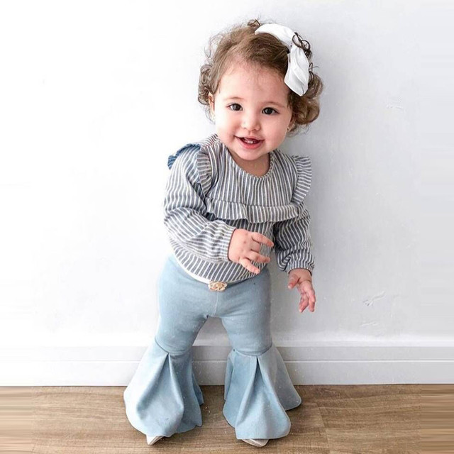 8ba20f077c143 US $3.77 26% OFF|MUQGEW 2019 Hot Sale Toddler Kids Baby Girl Striped T  shirt Tops+Flare Pants Outfits 2PCS Clothes Set Dropshipping Baby  Clothes-in ...