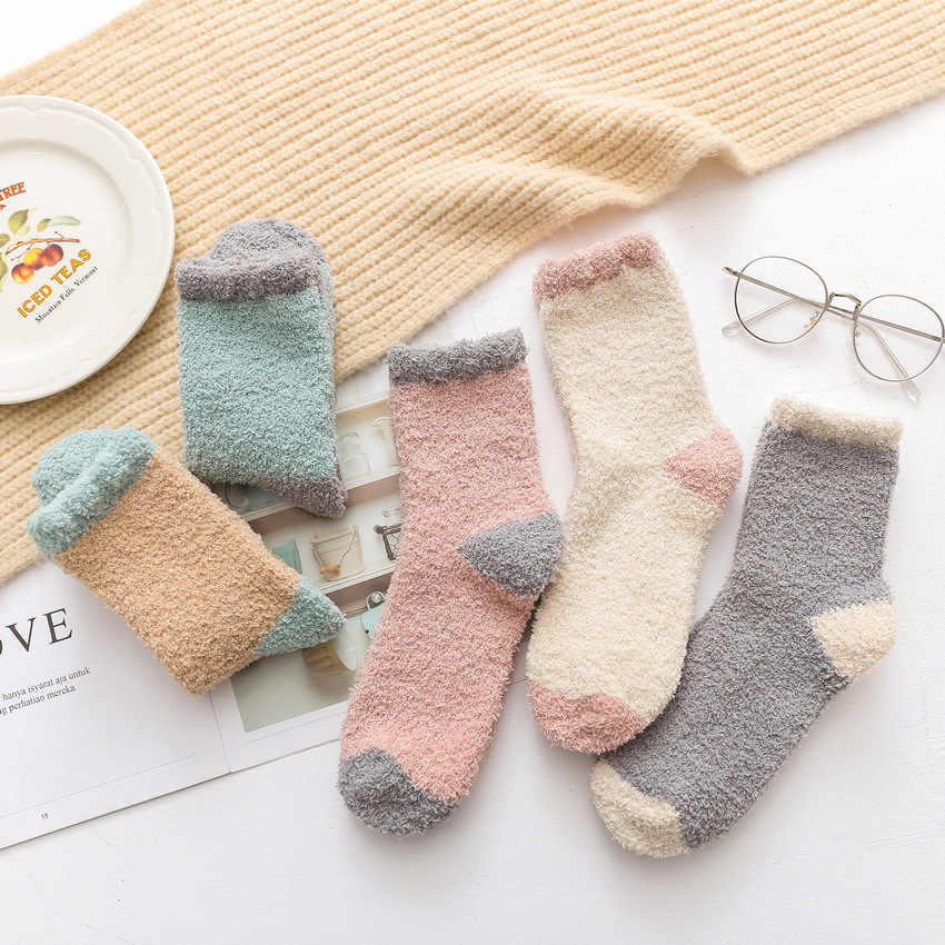 89c37d271908a Japanese Winter Women Cozy Cashmere Socks Warm Sleep Bed Floor Home Fluffy  Socks High Quality Sox