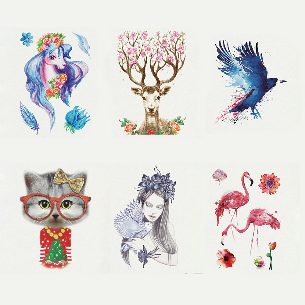 1PC Flamingo Eagle Design Temporary Tattoo Sticker Waterproof Body Art Women Fake Half Arm Leg Tattoo Decal Sticker 21*14.8cm