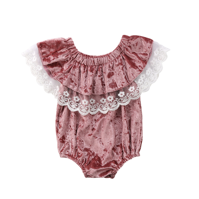 28f7afe2ab7b Fashion Newborn Infant Baby Girl Off shoulder Lace Velvet Romper ...