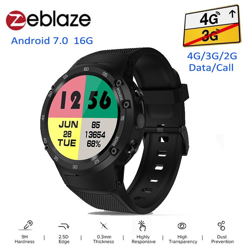 Zeblaze THOR 4 4G Smartwatch Phone Android 7.0 MTK6737 Quad Core 1GB+16GB 5MP Camera 580mAh 4G/3G/2G Data Call Smart Watch Men zeblaze thor smartwatch phone 4 4g lte gps android 7 0 mtk6737 quad core 1gb ram 16gb rom 5 0mp camera 4g 3g 2g watch phone