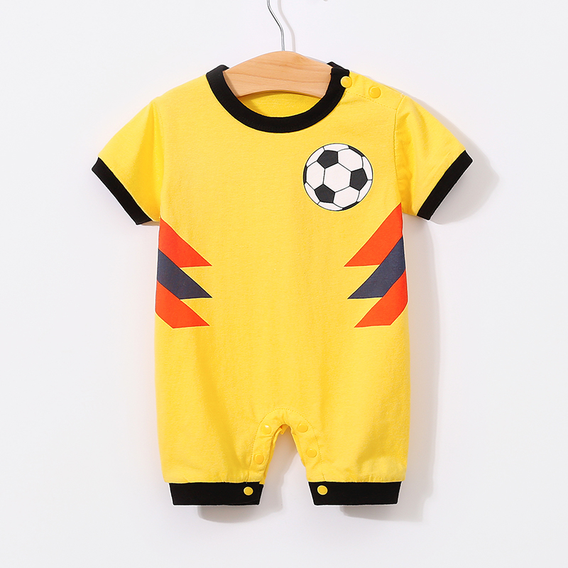 YiErYing Baby Rompers 2018 Summer 100 Cotton Short sleeve Football Ha Clothes Newborn Baby Boy Girl Jumpsuits infant clothing in Rompers from Mother Kids