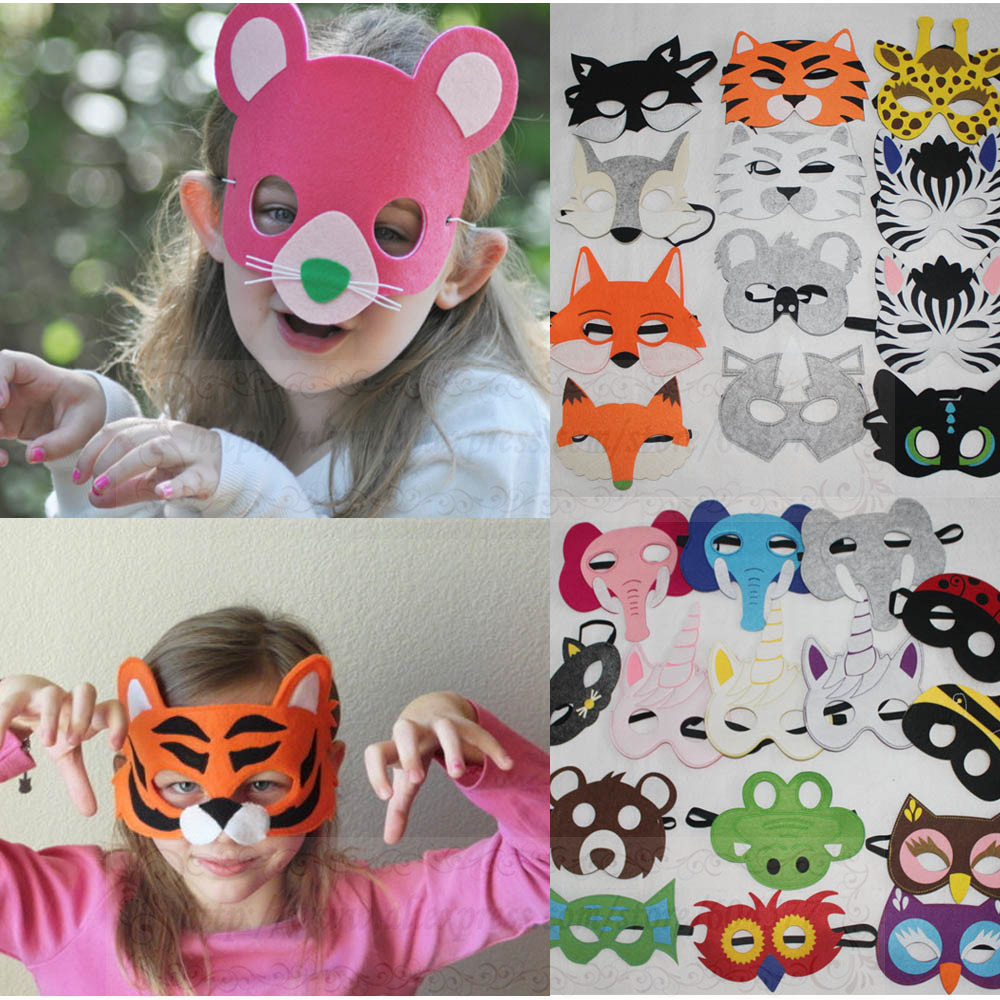 Animal Costume Masks Kids Halloween Party Wolf Tiger Girls and Boys Cosplay Felt Masks