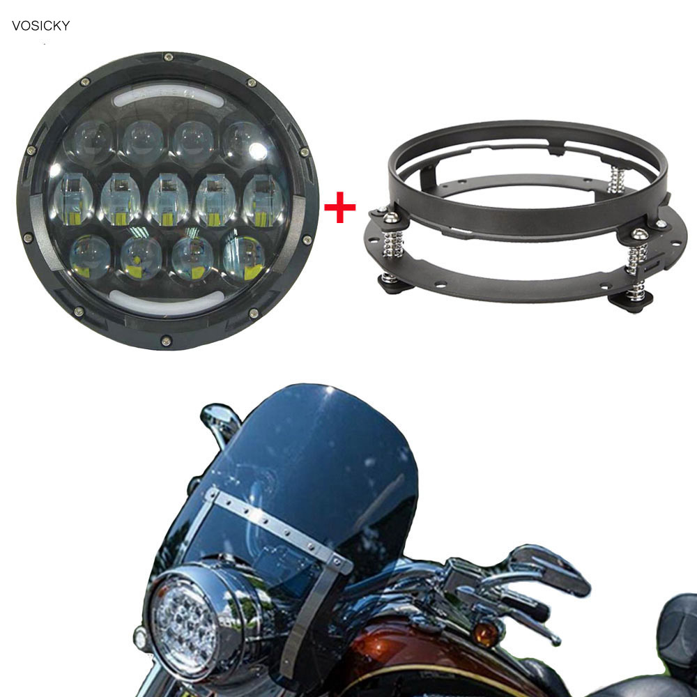 VOSICKY 7 inch 78W Round Led Headlight angel eye High/Low Beam with DRL for Jeep Wrangler with 7 inch bracket ring 2pcs 2017 new design 7 inch 40w motorcycle led auto angel eyes led headlight bulb with high quality