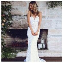 LORIE Dantel düğün elbisesi Spagetti Sapanlar 2019 Basit Mermaid Plaj gelinlik Custom Made Seksi Peri Beyaz Fildişi gelinlik
