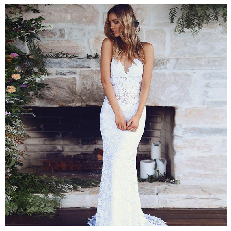 LORIE Lace Wedding Dress Spaghetti Straps 2019 Simple Mermaid Beach Bride Dress Custom Made Sexy Fairy White Ivory Wedding Gown