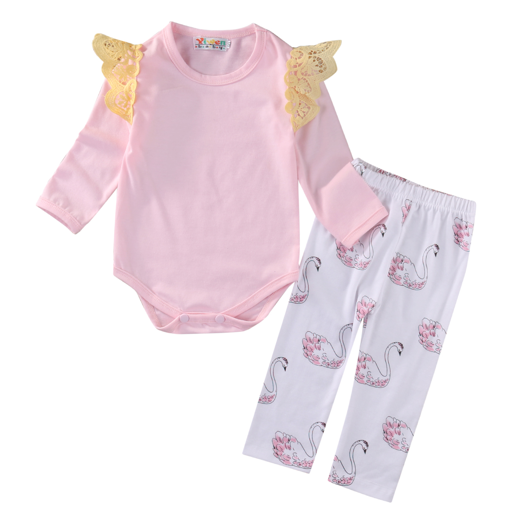 0-18M Newborn Infant Baby Girl Clothes Pink Long Sleeve Romper Swan Pants Cotton Bodysuit 2Pcs Outfits Bebes Toddler Clothing iyeal newest 2018 princess newborn baby girl romper lace cotton long sleeve infant jumpsuit headband toddler outfits for 0 12m