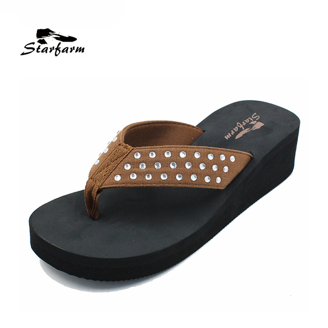 STARFARM Flip Flops Women Beach Sandals Wedge Slides Slippers with Beads Claquettes Femme