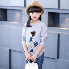 2016 new winter girls in large children's casual fashion cartoon round neck long-sleeved girls sweater children's clothing