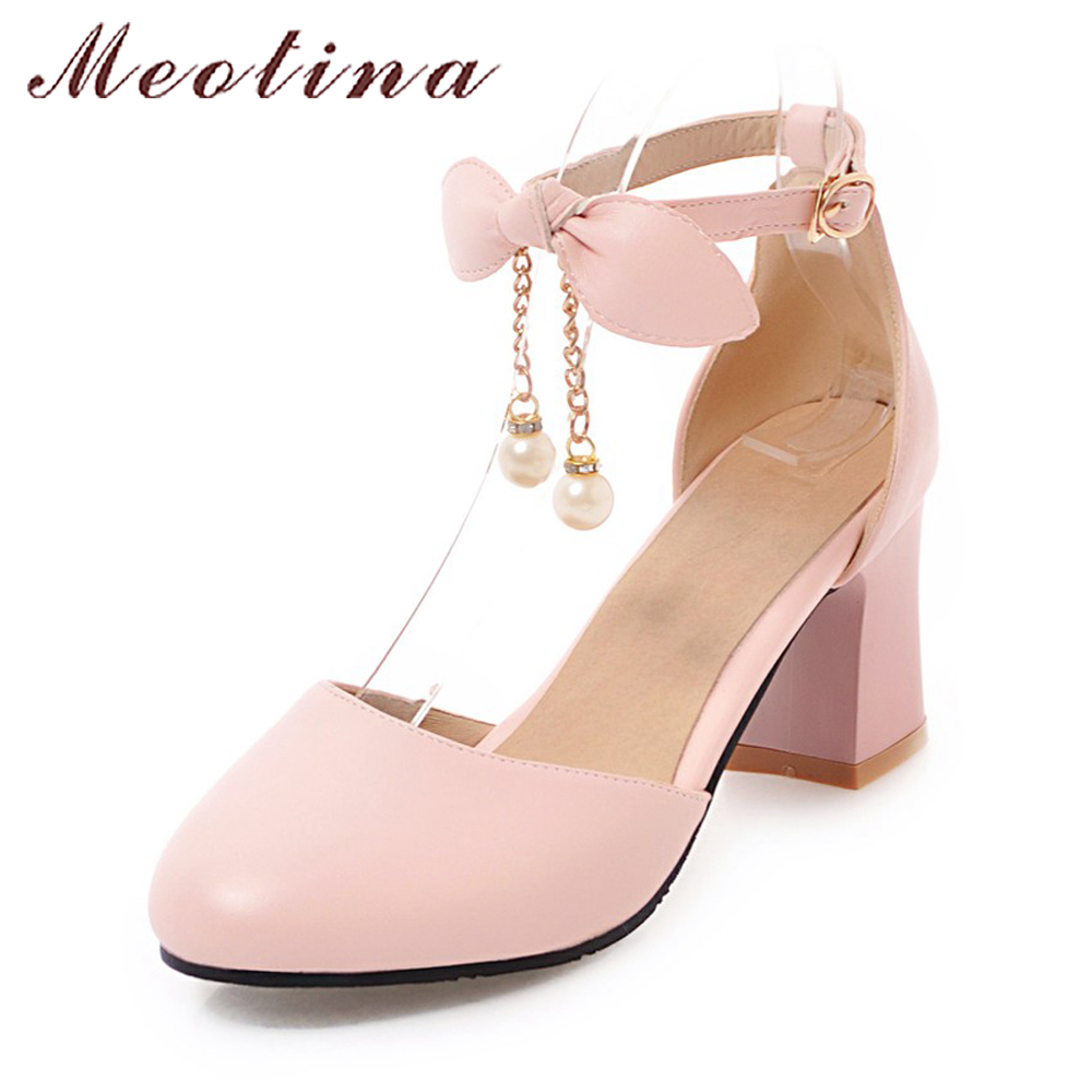 Meotina Ladies Shoes Women Thick High Heels Spring 2018 Shoes Pumps Ankle Strap Two-Piece Bow Party Shoes Pearls Pink Size 33-44