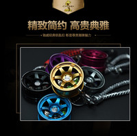 2017 new fashion personality high quality creative car metal wheel key ring rearview mirror pendant