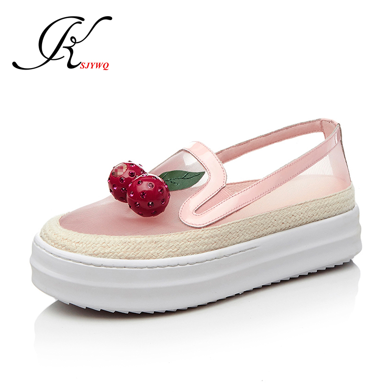 ФОТО 2017 Black Lace Large Women Flats 5 cm Platform Shoes Cherry decoration Spring School Loafers Plus Size 43 Box Packing 207-268