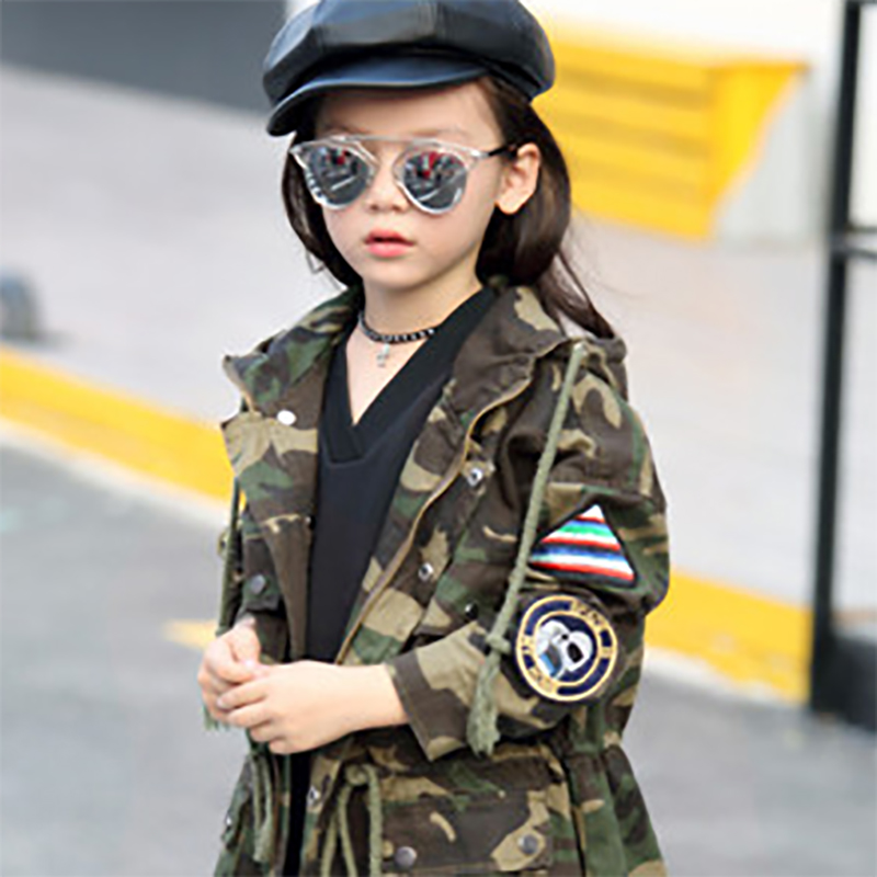 fashion Coat Winter Children Jacket Hoodies children coat Girls Clothes Kids jackets Geometric camouflage overcoat for
