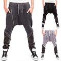 Sportswear homens Cair Calças Virilha Sweatpants Baggy Casual Inclinado Zipper Patchwork Solto Harem Pants Calças de Musculação