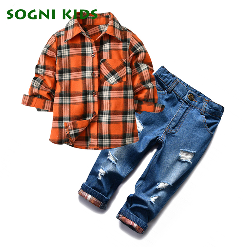 Baby Boys Clothing Set Spring Autumn Fashion Plaid Long-sleeves Blouse Children Broken Holes Jeans Cotton Shirt+Pants Kids Suit 2017 spring autumn 1 6t kids cotton long sleeve t shirt baby boys girls age number blouse tops children pullovers tee camiseta