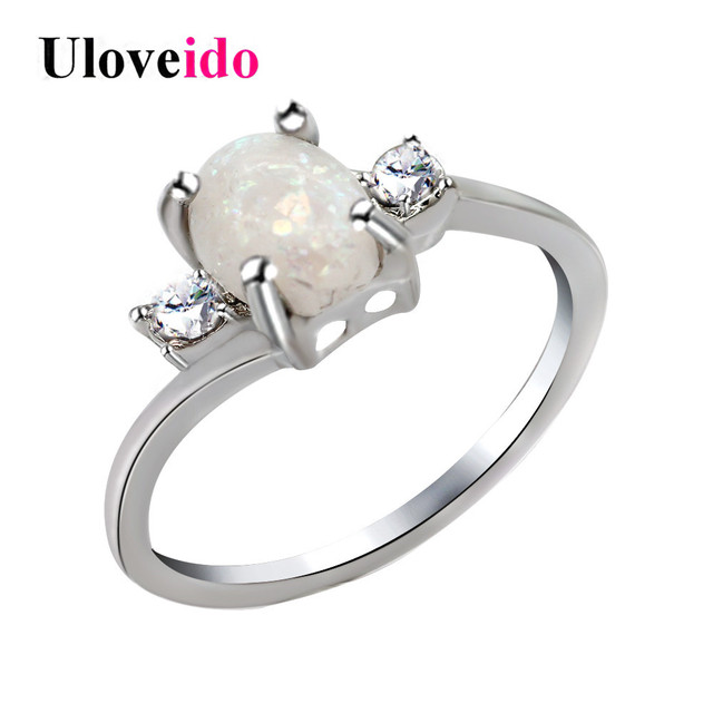 Uloveido Wedding Rings for Women Female Ring with White Fire Opal Engagement Jew