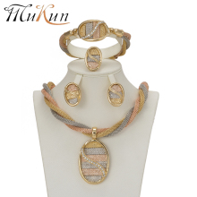 2018 MUKUN Fashion African Jewelry sets Gold Color Crystal Wedding Women Bridal Accessories nigerian for Lady