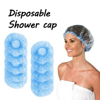 10Pcs Disposable Elastic Plastic Shower Caps Women Men Bath Hair Cap For SPA Hair Salon Hotel Waterproof Shower Caps Hats New image
