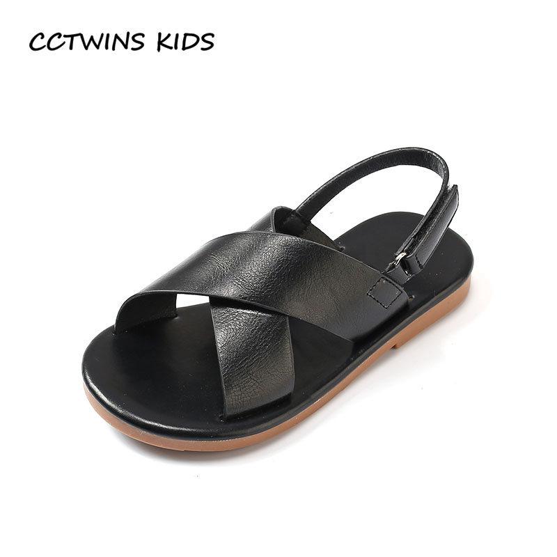 CCTWINS KIDS 2018 Summer Children Pu Leather Flat Fashion Barefoot Beach Sandal Baby Boy Toddler Brand Black Shoe Girl BB139