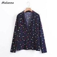 Malianna 2017 Autumn Casual Long Sleeve Elegant Colorful Polka Dot Print Double Breasted Women Jacket Coat