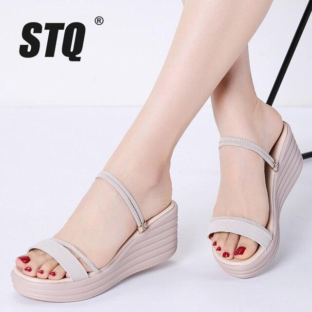 STQ 2020 Women Sandals Suede Leather Wedges Heel Flat Sandals Women Beach Gladiator Sandals Ladies Platform Sandals Shoes 508