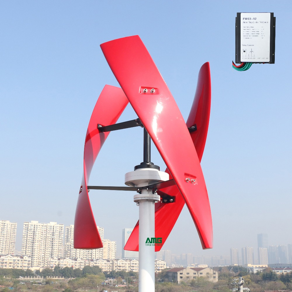 300 W 12 V 24 V spirale éolienne générateur rouge/blanc VAWT axe Vertical énergie résidentielle avec contrôleur de chargeur PWM