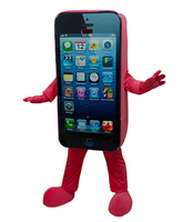 Beautiful White Cell Phone Cell Mobile Phone Handset Mascot Costume With White Keyboard Short Black Legs