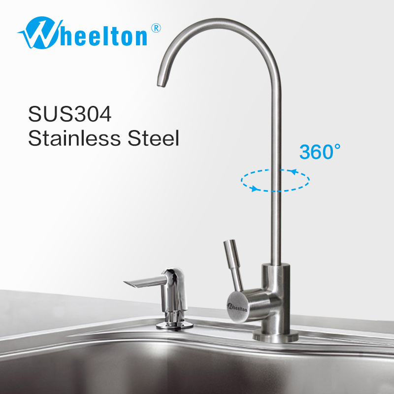 Wheelton RO Faucet 304 Stainless Steel Lead-free Kitchen Drinking Water Tap For Filter Purify System such as Reverse Osmosis 10 stainless steel water filter housing for high temperature water filter system