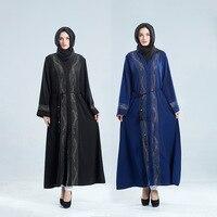 Muslim Dress Dubai Moroccan Turkish Women Long Sleeve Diamond Long Maxi Dress Abaya Islamic Clothing kaftan Womens Cardigan Robe